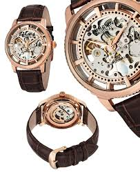 stuhrling original skeleton watches 85 for men s skeleton automatic watch in rose tone gp12765 625 list price