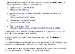 Job Qualification List Solved 1 Select Two Different Health Education Job Annou