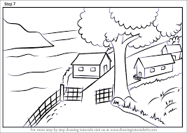 to draw a beautiful village scenery