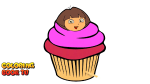 Small Picture Dora The Explorer Cupcake Coloring Pages For Kids YouTube