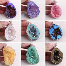details about geode stone natural crystal agate pendant bead for diy necklace jewelry making