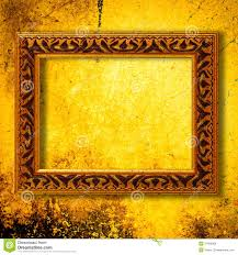 retro wooden frame over gold grunge wallpaper royalty free stock