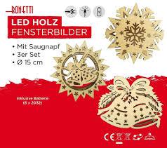 3er Set Led Holz Fensterbilder Mit Saugnapf Aus Echtholz Batteriebetrieben Weihnachtsdeko