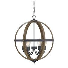 fulton wood and black six light globe pendant