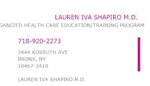 1295050961 NPI Number | LAUREN IVA SHAPIRO M.D. | BRONX, NY | NPI ...