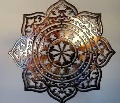 mandala wall decor heat colored metal
