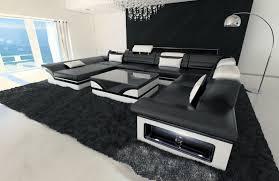 Details About Wohnlandschaft Leder Xl Couch Ecksofa Monza Lounge Sofa Garnitur Couchtisch Leds