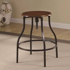 metal bar stools with wood seat. Counter Height Wood And Metal Bar Stool With Round Adjustable Seat, Industrial Style Stools Seat N