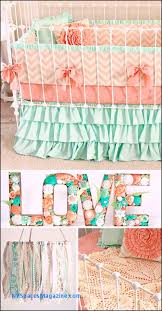 mint peach baby bedding girl crib bedding baby girl bedding c