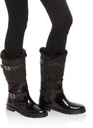 Womens Boots   Rainbow & Sherpa Cuff Quilted Rain Boots - 1115014067872 Adamdwight.com