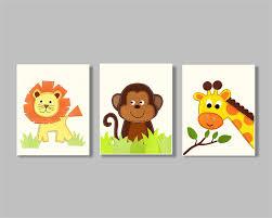 animal nursery wall art lion monkey giraffe wall art neutral room decor