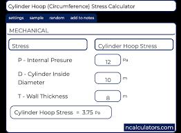 Cylinder Hoop Stress H Calculator