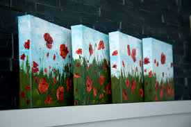 series of red poppy flower acrylic paintings