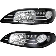 94 98 Mustang Corner Lights Amazon Com Headlights Fits 1994 1998 Ford Mustang Black