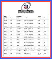 printable nfl playoff game schedule for