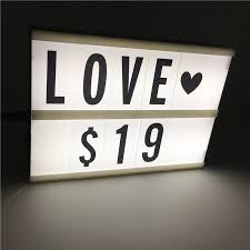 leedome a5 size 2 line cinematic cinema light box night lamp led lightbox 90pcs letters powered by 3pcs aa battery or usb cable in led night lights from