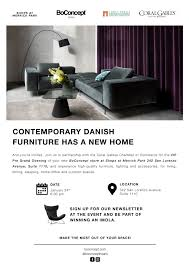New danish furniture Shelf Join Us For The Vip Official Opening Of Your New Boconcept Store At Shops At Merrick Park 342 San Lorenzo Avenue Suite 1110 And Experience Highquality Sight Unseen Contemporary Danish Furniture Has New Home The