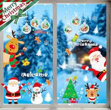 Lyworld Weihnachten Aufkleber Fenster Aufkleber Weihnachtsmann Schneeflocken Winterdekoration Diy Weihnachtsdeko Pvc Fensterdeko Set Weihnachtsbaum