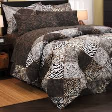 leopard zebra safari brown animal patch print queen size bedding comforter set