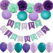Purple Happy Birthday Banner Mermaid Birthday Decorations Frozen Party Supplies Happy Birthday