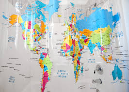 coloured world map shower curtain  seattle's travel shop