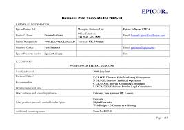 Free One Pageusiness Plan Template Word Fresh Unique Financial