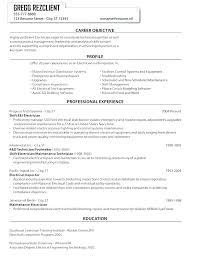 Resume Objective For Maintenance Technician Best of Resume Examples Electrician Resume Objective For Electrician X