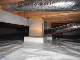 Crawlspace Block #Piers added to a beam between the floor joists ...