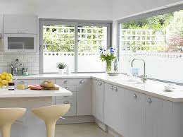 modern white kitchen decor with open views glass kitchen window ideas also l shape kitchen cabinet added small island feat modern stool decors