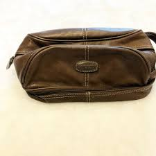 details about fossil brown leather toiletry bag mens womens travel cosmetics