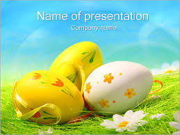 Easter Eggs On Grass Powerpoint Template Infographics Slides