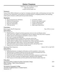 Resume Examples Law Enforcement Police Officer Resume