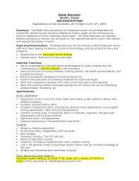 Retail Job Descriptions 2016 Recentresumes Com