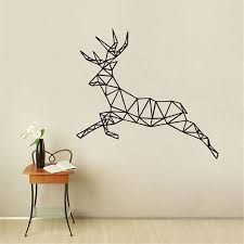 animal outline geometric jumping deer wall sticker for living room bedroom home decoration kitchen wall decor stickers kitchen wall stickers from onlybrand
