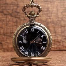 antique harry potter ly hallowquartz pocket watch bronze triangle hollow pattern pendant clock with chain children