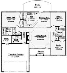 Split Bedroom Ranch Home Plan   HZ   st Floor Master Suite    Floor Plan