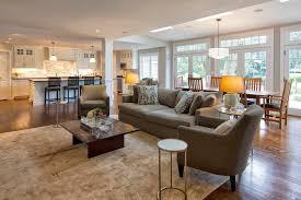 open floor plan flooring living room traditional with pendant lights ...