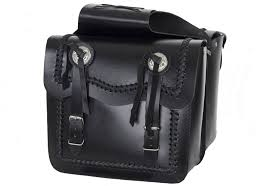 black leather motorcycle saddlebag