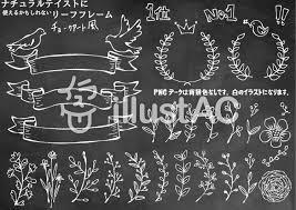 無料素材てがきの植物フレーム チョークアート チョークアート