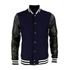 black leather arm sleeves and wool varsity jacket