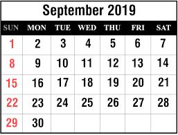 Blank September 2019 Calendar Printable Planner