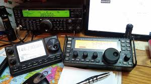 the kenwood ts 590 with an alinco ems 14 desk microphone feeds my home brew antenna the primary antenna is a 190 inverted l fed at the base with a sdg 239