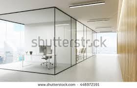 office glass door design. side view of office interior with blank whiteboard behind glass doors hallway concrete floor door design