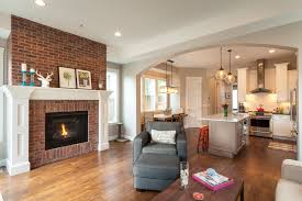 brick fireplaces living room transitional with city architecture