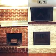 how to reface a brick fireplace covering with stone best refacing ideas refinish tile c how to reface a brick fireplace with stone veneer refinish ideas