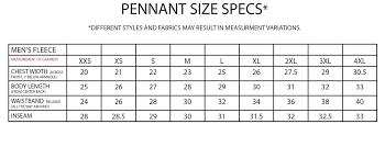Pennant Sportswear Size Chart Tennessee Shirt Company