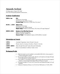 Academic Resume Templates Letter Example