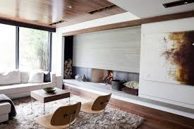 fireplace wall decor family room midcentury with corner sofa solid color accent and garden stools