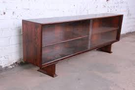 danish modern rosewood glass front bookcase or credenza