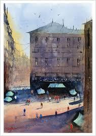 fine print of my spanish madrid city street watercolour painting urban landscape